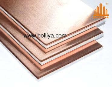Copper interior wall cladding panels composite